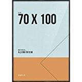 Cadre Photo Noir Aluminium 70x100 cm, Encadrement pour Affiche ou Poster Grand Format. Avec Verre Plexi 1mm. Profil 9x21mm