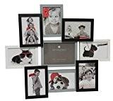 Cadre photo pêle-mêle mural capacité 9 photos - Coloris Gris, blanc et noir