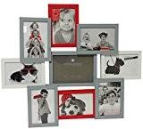 Cadre photo pêle-mêle mural capacité 9 photos - Coloris Gris, blanc et rouge