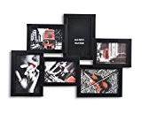 Cadre photo pêle-mêle mural coloris NOIR capacité 6 photos