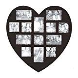 Cadre photo pèle-mèle mural forme cœur coloris noir capacité 13 photos