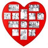 Cadre photo pêle-mêle mural forme cœur coloris rouge capacité 13 photos