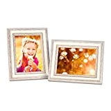 Cadre photos style chalet 15x20 cm blanc set de 2
