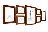 Cadres Photos Mural en Bois MASSIF - Lot de 7 Cadres - Différentes tailles - Vitre en VERRE - Profil ...