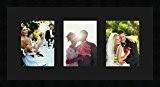 Cadres photos pêle mêle multivues Noir 3 photo(s) 15x20 Passe Partout, Cadre photo mural 60x30 cm Noir, 3 cm de ...