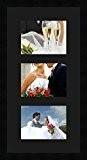 Cadres photos pêle mêle multivues Noir 3 photo(s) 20x15 Passe Partout, Cadre photo mural 30x60 cm Noir, 3 cm de ...