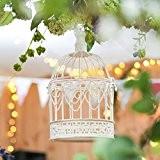 Cage Oiseaux en Métal et Bois Blanc Style Shabby Chic avec Crochet de Suspension - 26cm - Détail Cœur Idéal ...