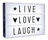 Caisson lumineux LED lightbox - Live, Love, Laugh (30cm x 22cm)