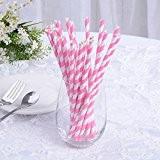 Carejoy Lot de 25 pailles en papier rose à rayures pour décoration de table, Noël, etc.