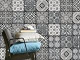 Carrelage en film autocollant | Auto-adhésif décoratif carreaux de ciment | Décoration pour faience salle de bain et crédence cuisine ...