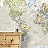 Carte Géante du Monde Pour Mur - Classique - 232 (largeur) x 158 (hauteur) cm