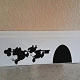 """Cartoon–Souris de Mickey et Minnie House Sticker Autocollant Mural en vinyle, Vinyle, noir, 9.5""""w x2.5""""h"""