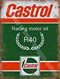 Castrol - Plaque murale métal / acier vintage garage bidon d'huile moteur course R Racing - 20 x 30 cm
