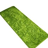 CHENGYANG Épais Tapis Shaggy Paillasson d'Entrée lavable et absorbant Tapis de passage tapis cuisine tailles diverses Vert 40cm x 120cm