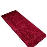 CHENGYANG Épais Tapis Shaggy Paillasson d'Entrée lavable et absorbant Tapis de passage tapis cuisine tailles diverses Vin Rouge 50cm x ...