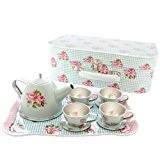 Childrens augmenté couvert à thé en étain et cas