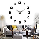 Chinatera Mirrors Surface Digit Stickers DIY 3D Wall Clock Large Size Art Clock Black by Chinatera