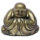 chinois FENGSHUI faite à la main Bouddha Rieur en laiton décoré Bronze figurine Sculpture Statue de décoration Ornement 9,1cm H