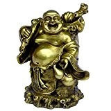 chinois FENGSHUI faite à la main Laiton Bouddha de transport Sac de l'argent décoré Bouddha Rieur/Maitreya Bouddha Bronze figurine Sculpture ...