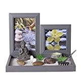 Coffret Jardin ZEN Bouddha sur un plateau avec cadres photos, lumignon, sable blanc, galets, râteau etc...