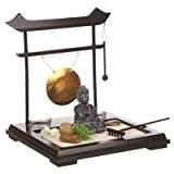 Coffret Jardin ZEN Bouddha sur un plateau en bois avec gong, 2 photophores , fleur et plante , sable et ...