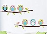 Colorfulworld 70 * 45 cm peintures murales colorées Murs de papier / verre 6 Hiboux Oiseaux Branches Autocollant Mural décalque ...