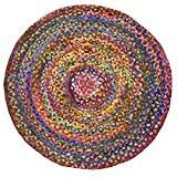 Commerce équitable tressé rond recyclé Chindi coton Rag Tapis, Tissu, multicolore, 150 x 150