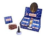 Cônes d'encens Satya Sai Baba Nag Champa Dhoop Cones 12 boîtes de 10 cônes avec coupelle pour cône d'encens