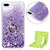 Coque iPhone 7 Plus Sterne,Coque iPhone 7 Plus Flüssigem,Ekakashop Creative 3D Motif Amour Pourpre Bague Dual Layer Bling Shiny Brillant ...