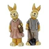 Couple de Lapins, figurine de déco nostalgique, terre cuite peinte de couleurs neutres