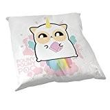 Coussin Décoration Fluffy chamalow : Pouny Pouny Licorne caca Arc en ciel pastel et papier toilette Rose chibi et kawaii ...