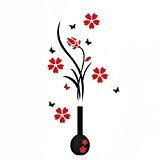 Covermason BRICOLAGE Vase fleur arbre Crystal Arcylic 3D Wall Stickers autocollant Home Decor