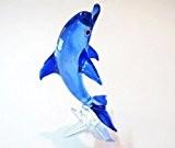 Craft Collectibl e MINIATURE main soufflé verre Dauphin bleu 01 FIGURINE animaux