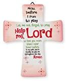 Croix pour chambre de fille avec 1 prière de Lourdes [en anglais] Cadeau de communion et de confirmation