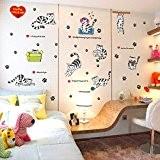 Cute Cartoon Chats Empreintes Forme Cœur Anglais Lettre maison en papier sticker mural amovible Cuisine Salon Salle à manger Chambre ...