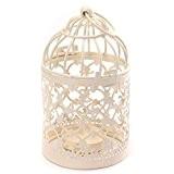 Da.Wa Porte-bougie en métal Tealight en forme de cage d'oiseaux Lanternes Creative Wedding Home Décoration,8x14cm(blanc)