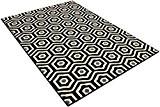 DeBonsol - Tapis salon MODERNE hexagones noir blanc UNIVERSOL