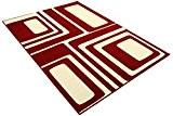 DeBonsol - Tapis salon RETRO MODERNE carrés rouge blanc UNIVERSOL