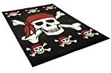 DeBonsol - Tapis salon TETE DE MORT pirate noir rouge UNIVERSOL