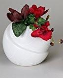 Déco moderne Vase rond en céramique en Samunga blanc Hauteur 16 cm