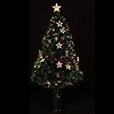 DECO NOEL - Sapin de Noël artificiel en fibre optique + étoiles lumineuses - livré dans son pot - Hauteur ...