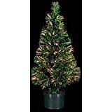 DECO NOEL - Sapin de Noël artificiel lumineux en fibre optique livré dans son pot - - Lumière à variation ...