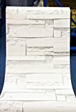 Deco Vinyl Rouleau de papier peint en PVC vinyle Briques blanc moderne lavable en machine