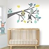 DecoDeco sticker mural Branche Safari S bleu. Très coloré avec des singes, des oiseaux et des hiboux. Mur Etiquette, décoration ...