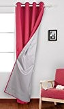 Deconovo Rideau de Fenetre Doublé Isolation Thermique Imperméable à Oeilles pour Bureau 140x260cm Rose