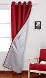 Deconovo Rideau Rouge Doublé Isolant Thermique à Oeillets Pour Décoration Interieur 140x260cm Rouge