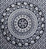 Décoration de chambre 100% coton imprimé à la main, Tapisserie murale ou drap de Plage Mandala - Style Eléphant - ...