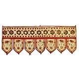 Décoration de porte CANTONNIÈRE INDIENNE blanc cassé en coton avec 7 lamelles broderies tissu indien décoration intérieure Fabrication Artisanale