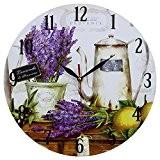 DécorationMaison StyleVintage Horloge Murale en MDF Scène Lavande et Café 34 cm
