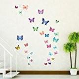 Decowall DW-1302 30 Papillons Vibrant Autocollants Muraux Mural Stickers Chambre Enfants Bébé Garderie Salon